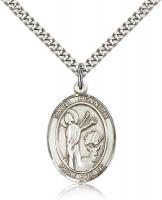 "Sterling Silver St. Kenneth Pendant, Stainless Silver Heavy Curb Chain, Large Size Catholic Medal, 1"" x 3/4"""