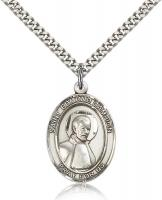 "Sterling Silver St. Edmund Campion Pendant, Stainless Silver Heavy Curb Chain, Large Size Catholic Medal, 1"" x 3/4"""