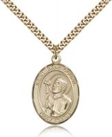 "Gold Filled St. Rene Goupil Pendant, Stainless Gold Heavy Curb Chain, Large Size Catholic Medal, 1"" x 3/4"""