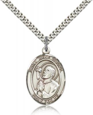 "Sterling Silver St. Rene Goupil Pendant, Stainless Silver Heavy Curb Chain, Large Size Catholic Medal, 1"" x 3/4"""