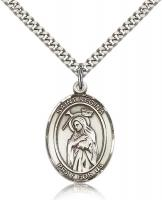 "Sterling Silver St. Regina Pendant, Stainless Silver Heavy Curb Chain, Large Size Catholic Medal, 1"" x 3/4"""