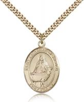 "Gold Filled St. Catherine of Sweden Pendant, Stainless Gold Heavy Curb Chain, Large Size Catholic Medal, 1"" x 3/4"""