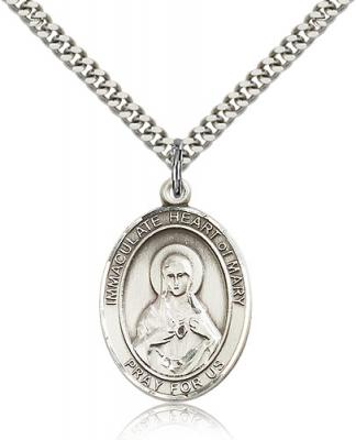 "Sterling Silver Immaculate Heart of Mary Pendant, Stainless Silver Heavy Curb Chain, Large Size Catholic Medal, 1"" x 3/4"""