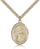 "Gold Filled St. Nimatullah Pendant, Stainless Gold Heavy Curb Chain, Large Size Catholic Medal, 1"" x 3/4"""