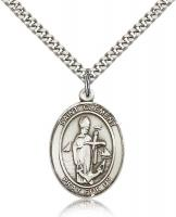 "Sterling Silver St. Clement Pendant, Stainless Silver Heavy Curb Chain, Large Size Catholic Medal, 1"" x 3/4"""