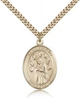 "Gold Filled St. Felicity Pendant, Stainless Gold Heavy Curb Chain, Large Size Catholic Medal, 1"" x 3/4"""