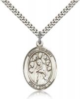 "Sterling Silver St. Felicity Pendant, Stainless Silver Heavy Curb Chain, Large Size Catholic Medal, 1"" x 3/4"""