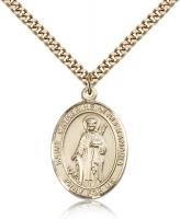 "Gold Filled St. Catherine of Alexandria Pendant, Stainless Gold Heavy Curb Chain, Large Size Catholic Medal, 1"" x 3/4"""