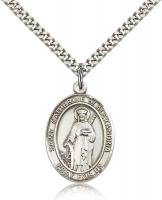 "Sterling Silver St. Catherine of Alexandria Pendan, Stainless Silver Heavy Curb Chain, Large Size Catholic Medal, 1"" x 3/4"""