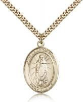 "Gold Filled Our Lady of Tears Pendant, Stainless Gold Heavy Curb Chain, Large Size Catholic Medal, 1"" x 3/4"""