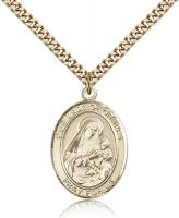 "Gold Filled Our Lady of Grapes Pendant, Stainless Gold Heavy Curb Chain, Large Size Catholic Medal, 1"" x 3/4"""
