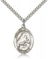 "Sterling Silver Our Lady of Grapes Pendant, Stainless Silver Heavy Curb Chain, Large Size Catholic Medal, 1"" x 3/4"""