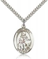 "Sterling Silver St. Giles Pendant, Stainless Silver Heavy Curb Chain, Large Size Catholic Medal, 1"" x 3/4"""