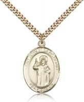 "Gold Filled St. John Of Capistrano Pendant, SG Heavy Curb Chain, Large Size Catholic Medal, 1"" x 3/4"""