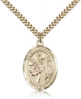 "Gold Filled St. Januarius Pendant, Stainless Gold Heavy Curb Chain, Large Size Catholic Medal, 1"" x 3/4"""