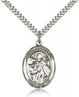 "Sterling Silver St. Januarius Pendant, Stainless Silver Heavy Curb Chain, Large Size Catholic Medal, 1"" x 3/4"""