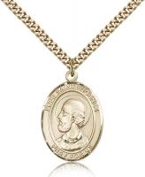 "Gold Filled Pope Saint Eugene I Pendant, Stainless Gold Heavy Curb Chain, Large Size Catholic Medal, 1"" x 3/4"""