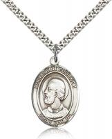"Sterling Silver Pope Saint Eugene I Pendant, Stainless Silver Heavy Curb Chain, Large Size Catholic Medal, 1"" x 3/4"""