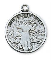 Saint Francis of Assisi, Patron of Animals, Sterling Silver Medal