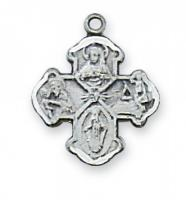 1.1cm 4-Way Sterling Silver Saint Medal