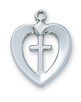 Sterling Silver Heart Cross  L419