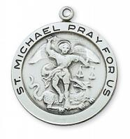 St. Michael Large Round Sterling Silver/Gold Medal