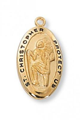 Small Gold St. Christopher Medal J388