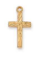 18KT. Gold on Sterling Silver Cross J8001