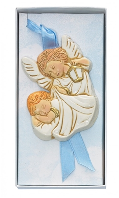 Blue Guardian Angel Crib Medal PW16-B