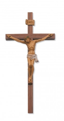 "12"" Walnut Crucifix Italian  79-00812"