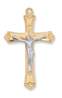 Gold Over Sterling Silver Two-Tone Crucifix JT8073