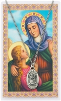 Saint Anne Pewter Medal & Prayer Card Set