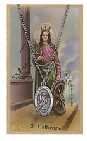 St. Catherine of Alexandria Prayer Card with Pendant