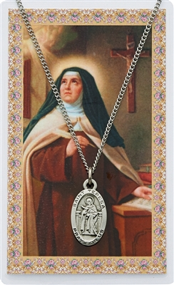 St. Teresa of Avila Prayer Card with Pendant