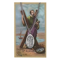 St. Andrew Patron Saint Prayer Card w/ Medal