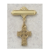 18KT Gold on Sterling Silver Celtic Cross Baby Pin 434J