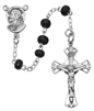 Sterling Silver Black Wood Bead Rosary 159L-BK/G