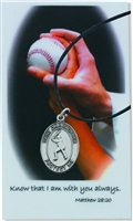 St. Christopher Baseball Medal Leather Chain Prayer Card