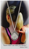 Girl Gymnastics Pray Card and Saint Christopher Pewter Medals PSD676GY