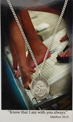 Girls Swimming Prayer Card and Saint Christopher Pewter Medal PSD676SW
