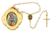 GOLD GUADALUPE BOX & PINK ROSARY 760-122