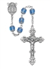 All Capped Blue Glass Bead Rosary 701S-BLF