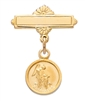 18KT Gold on Sterling Silver Guardian Angel Baby Pin 422J