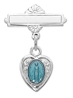 Sterling Silver Blue Enamel Miraculous Medal Baby Pin 453L