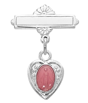 Sterling Silver Pink Enamel Miraculous Medal Baby Pin 452L