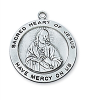 Scapular Medal of the Sacred Heart Round Sterling Silver L567