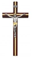 "10"" Cherry Wood Crucifix with Gold Inlay 79-42656"