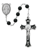 7MM PEWTER BLACK GLASS ROSARY R560DF