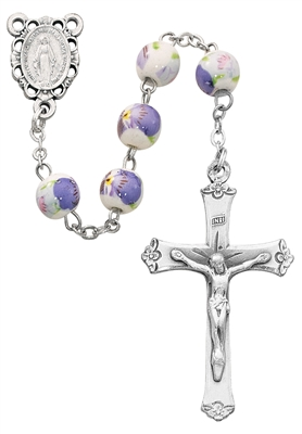 8MM CERAMIC PURPLE ROSARY P219R