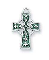 Sterling Silver Enamel Celtic Cross L9065